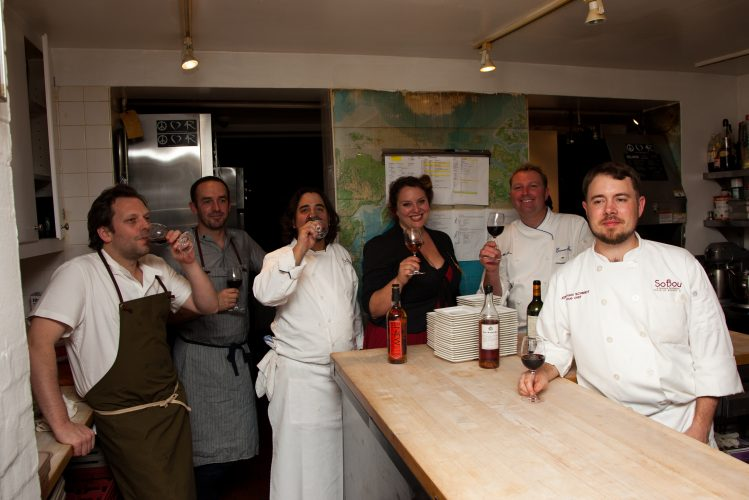 The SoBou gang takes a breather at The James Beard House. Photo courtesy Jeffrey Gurwin