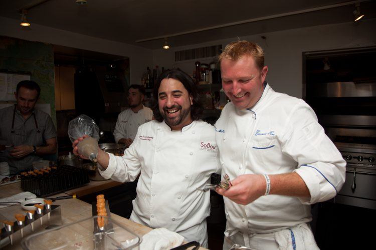 Chef Juan Carlos with Chef Tory McPhail at The Beard House. Photo courtesy Jeffrey Gurwin